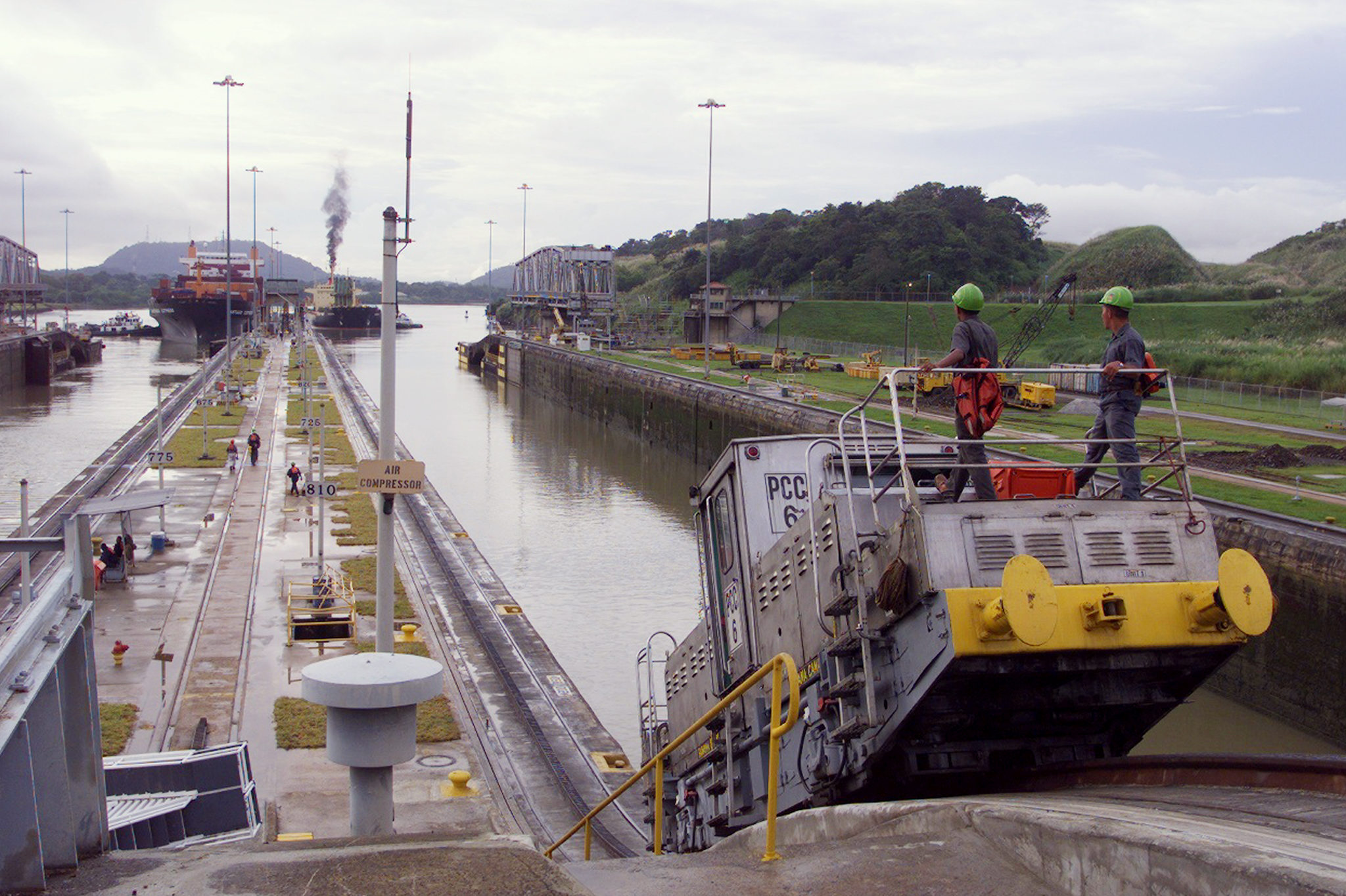 "One of the electric locomotives, called ""mules,"" that pull ships through the Miraflores locks in the canal. Photo taken Sept. 17, 1999, by Harry Hamburg/NY Daily News Archive via Getty Images"