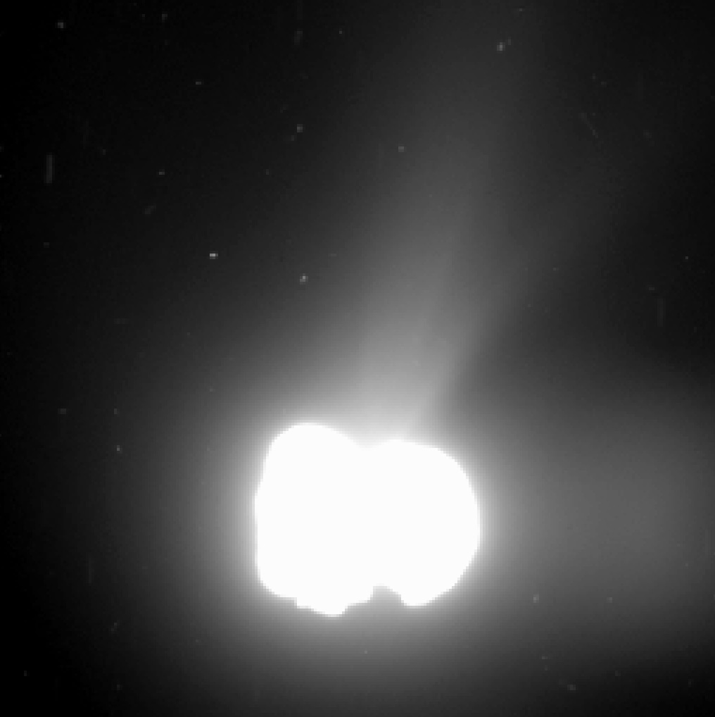 Comet 67P/Churyumov-Gerasimenko on Aug. 2. The image was taken by Rosetta's OSIRIS wide-angle camera from a distance of about 342 miles. Photo courtesy of the European Space Agency