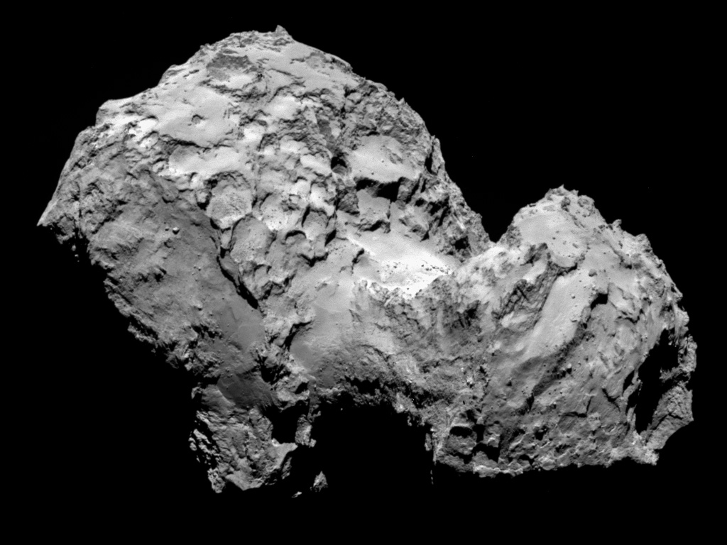 Rosetta snapped this shot of Comet 67P/Churyumov-Gerasimenko from a distance of 177 miles on Aug. 3. Photo courtesy of the European Space Agency