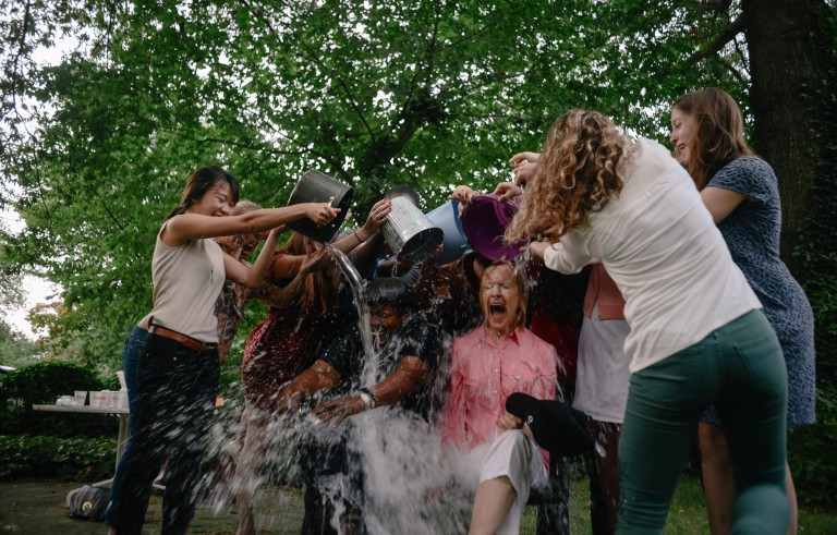 Gwen Ifill and Judy Woodruff accepted the ALS Ice Bucket Challenge. Photo by Ariel Min.