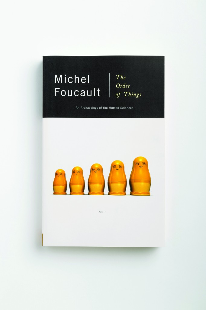 This Foucault cover is part of a series by Mendelsund, each featuring a different related object against a white background. From Cover by Peter Mendelsund, published by powerHouse Books