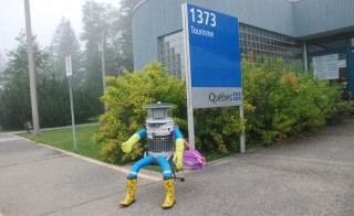 The Canadian hitchhiking robot, hitchBOT, has traveled 3,700 miles in the past month: from Nova Scotia to British Columbia.