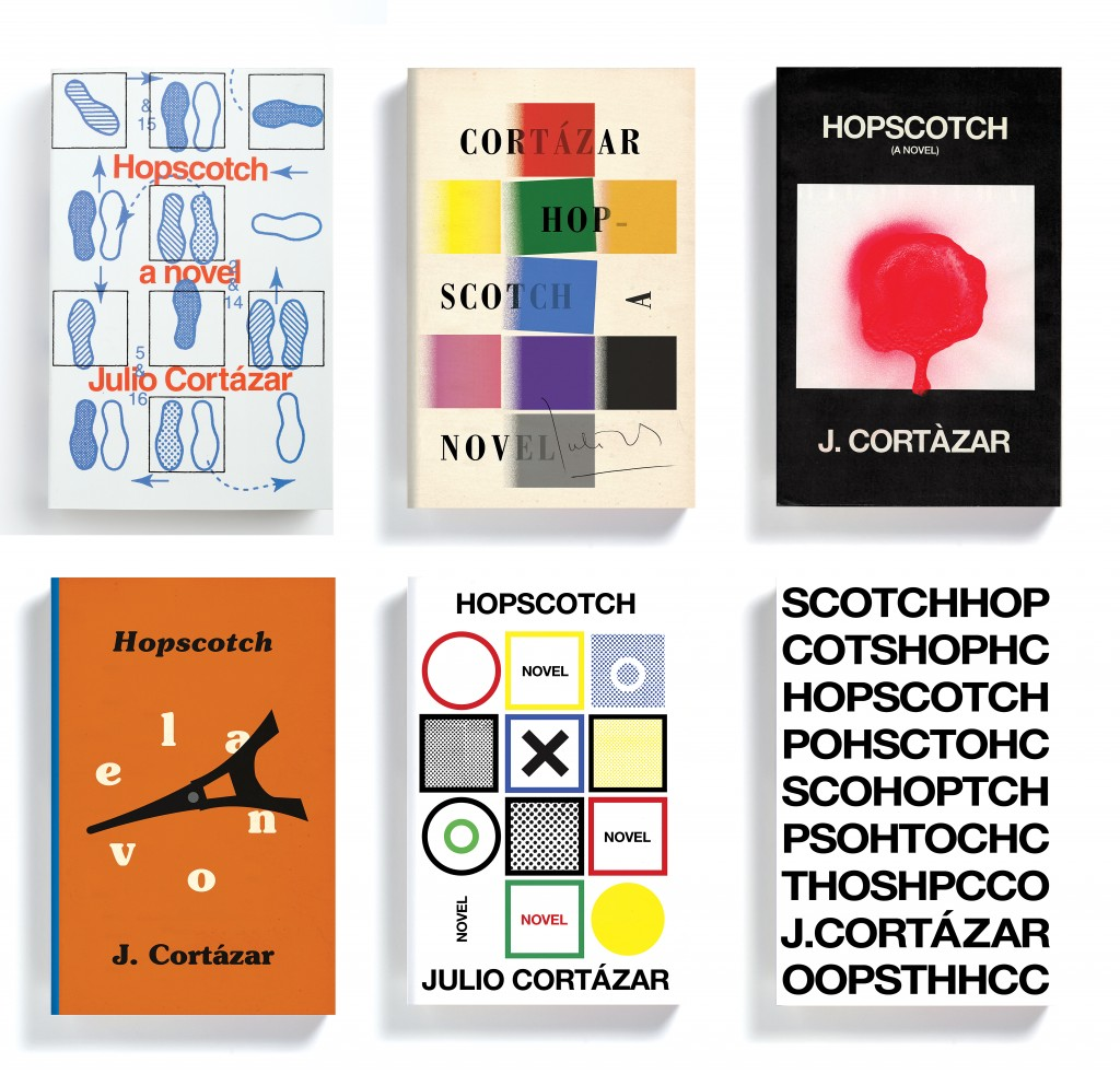 """ I don't think I will stop making 'Hopscotch' covers."" On the top left is the final design choice for the 50th anniversary cover of Julio Cortazar's ""Hopscotch."" The remaining five are among the many ideas that Mendelsund came up with, but did not use. From Cover by Peter Mendelsund, published by powerHouse Books"