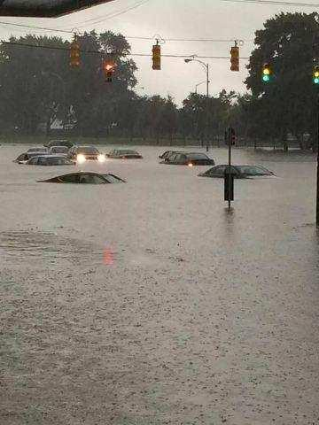Flooding Monday in Warren, Michigan. Photo by Jacqueline Ciolek