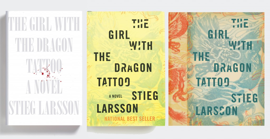 "Mendelsund worked on the cover for ""The Girl with the Dragon Tattoo"" for three months, designing almost 50 different covers. From Cover by Peter Mendelsund, published by powerHouse Books"