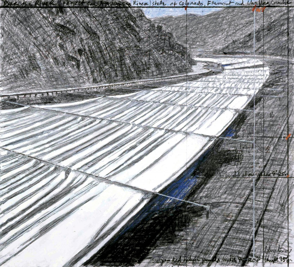 Over the River (Project for Arkansas River) Drawing 2007. Photo: Wolfgang Volz © 2007 Christo