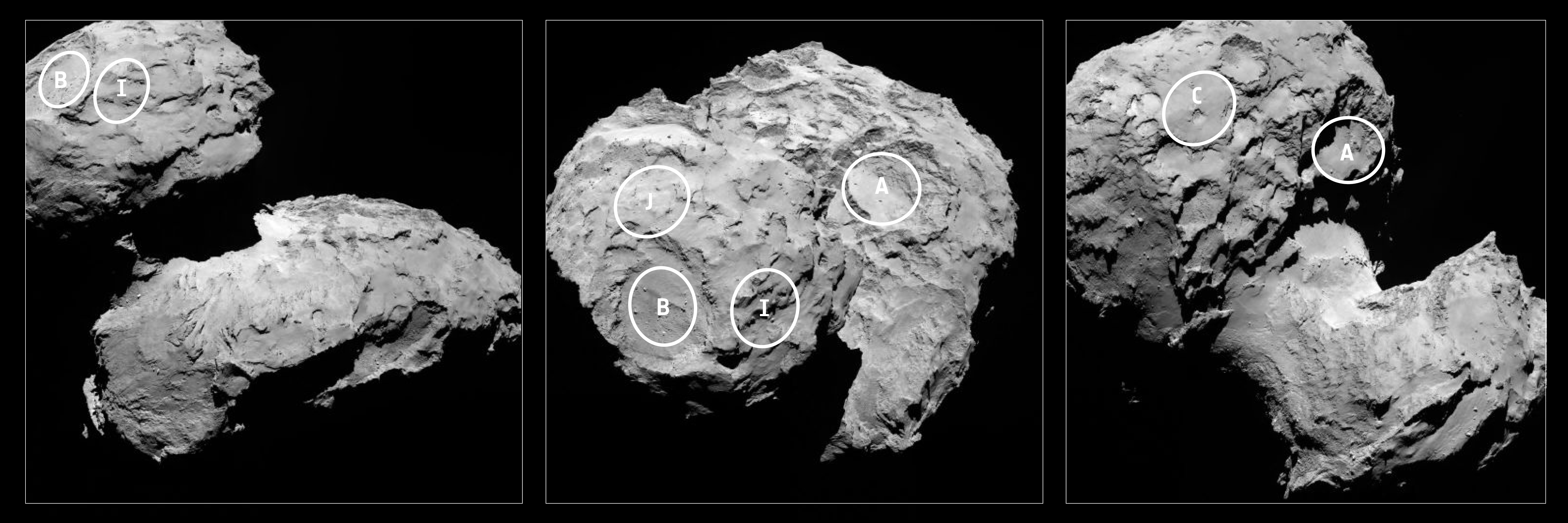 Five candidate sites were identified on Comet 67P/Churyumov-Gerasimenko during the Landing Site Selection Group meeting held 23–24 August 2014. Image by ESA/Rosetta/MPS for OSIRIS Team MPS/UPD/LAM/IAA/SSO/INTA/UPM/DASP/IDA