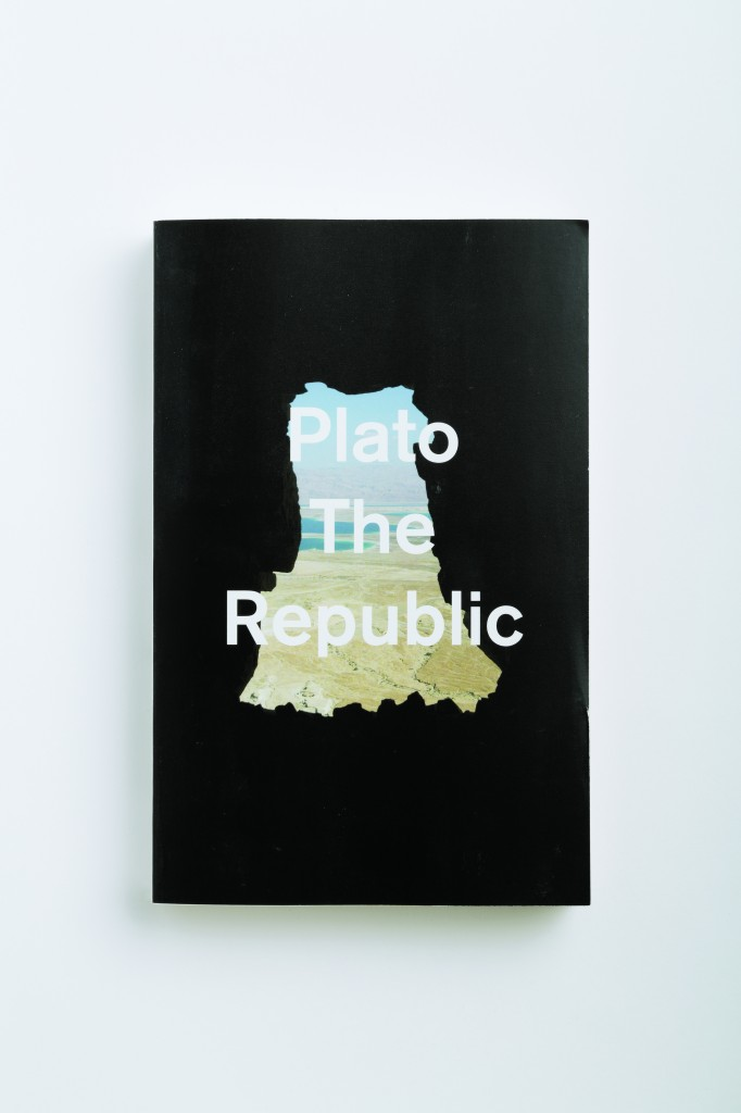 """Plato's Republic as 1971 Chermayeff & Geismar Pan Am World's poster. 'Come for the flickers shadows -- stay for the theory of forms.'"" From Cover by Peter Mendelsund, published by powerHouse Books"
