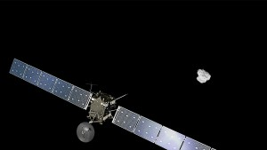 An artist rendition of the European Space Agency's Rosetta spacecraft approaching comet 67P/Churyumov-Gerasimenko. Photo courtesy of the ESA