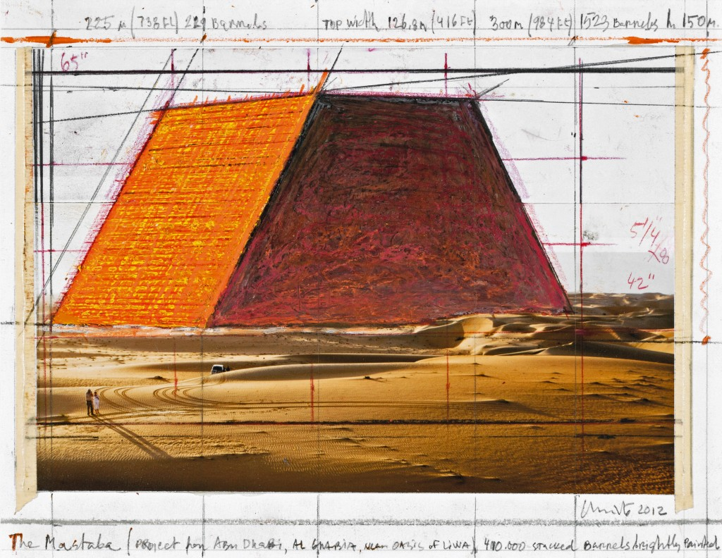 The Mastaba (Project for Abu Dhabi, Al Gharbia, near Oasis of Liwa) Collage 2012. Photo: André Grossmann © 2012 Christo