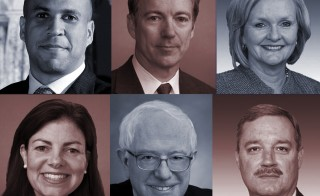 Clockwise: Sen. Cory Booker, D-N.J., Sen. Rand Paul, R-Ky., Sen. Claire McCaskill, D-Mo., Rep. Jeff Miller, R-Fla., Sen. Bernie Sanders, I-Vt., Sen. Kelly Ayotte, R-N.H.