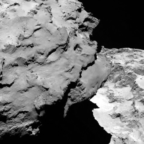 "Rosetta took this image of comet 67P/Churyumov-Gerasimenko on Aug. 6, the day it reached its destination after a 10-year journey through space. The image shows the comet's ""head"" at the left of the frame, which is casting shadow onto the ""neck"" and ""body"" to the right. Photo courtesy of the European Space Agency"