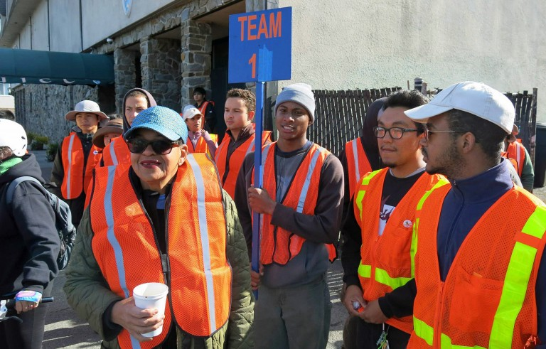 Cathrine Sneed (left) and members of The Garden Project worked with anti-litter campaign San Francisco Giant Sweep to clean up streets of the city. Photo courtesy of The Garden Project