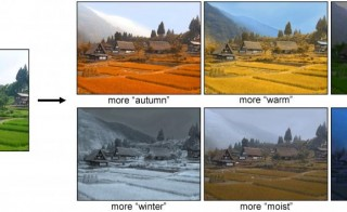 With this new tool, a user provides an image, left, and can chose different weather attributes for which to apply to the photo. Photo by Brown University.