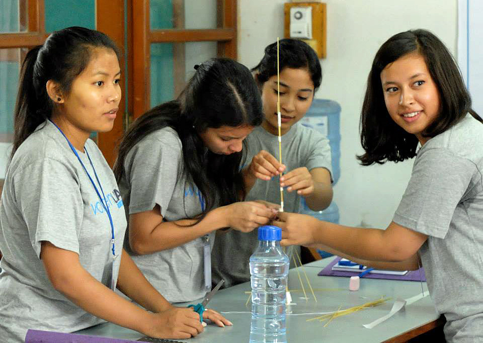 Students participate in a two-week boot camp for encouraging teamwork and creativity. Photo courtesy of Women LEAD Nepal