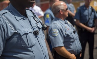 Police officers in Ferguson, Missouri, began wearing body cameras on Saturday.  Photo by Aaron P. Bernstein/Getty Images