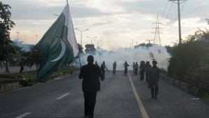 Clashes during the ongoing anti-government protests in Islamabad