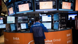 China-Based Internet Company Alibaba Debuts On New York Stock Exchange