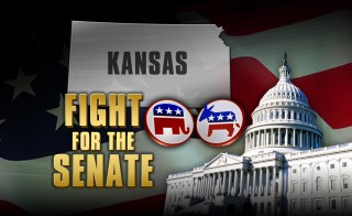 FIGHT FOR THE SENATE  Kansas capitol dome republican and democratic logo  monitor