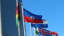 Haiti's flag flies with others outside the U.N. headquarters in New York City. Photo by Larisa Epatko/PBS NewsHour