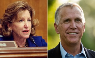 Sen. Kay Hagen and Thom Tillis. Hagen photo from her Flickr page, Tillis from Photo By Bill Clark/CQ Roll Call via Getty