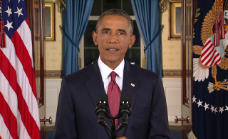 "In a major reversal, President Barack Obama ordered the United States into a broad military campaign Sept. 10, 2014 to ""degrade and ultimately destroy"" Islamic State militants in two volatile Middle East nations authorizing airstrikes inside Syria for the first time as well as an expansion of strikes in Iraq in a prime-time address on Sept. 10, 2014. On Sept. 13, 2014 the Islamic State group released a video showing the killing of British aid worker, David Haines."