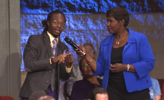 Gwen Ifill talks to an audience member during the taping of America After Ferguson. Photo courtesy of WGBH Boston.
