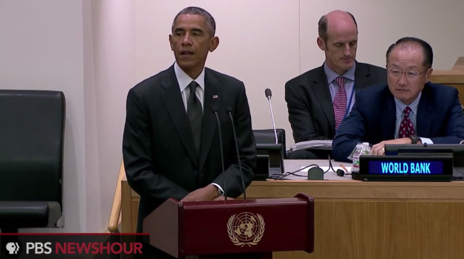 President Barack Obama spoke about the Ebola crisis at the United Nations on Sept. 25, 2014. On Sept. 26, 2014, Obama signed a memo protecting Liberian immigrants without visas living in the U.S. from deportation during the Ebola crisis. Credit: Screen image by PBS NewsHour