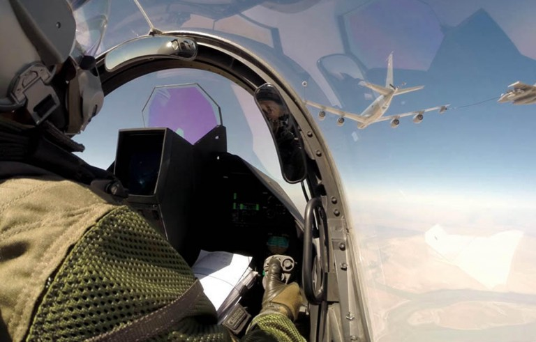 This photo shows the first French air strikes over Iraq on Friday. Photo by France's Ministry of Defense