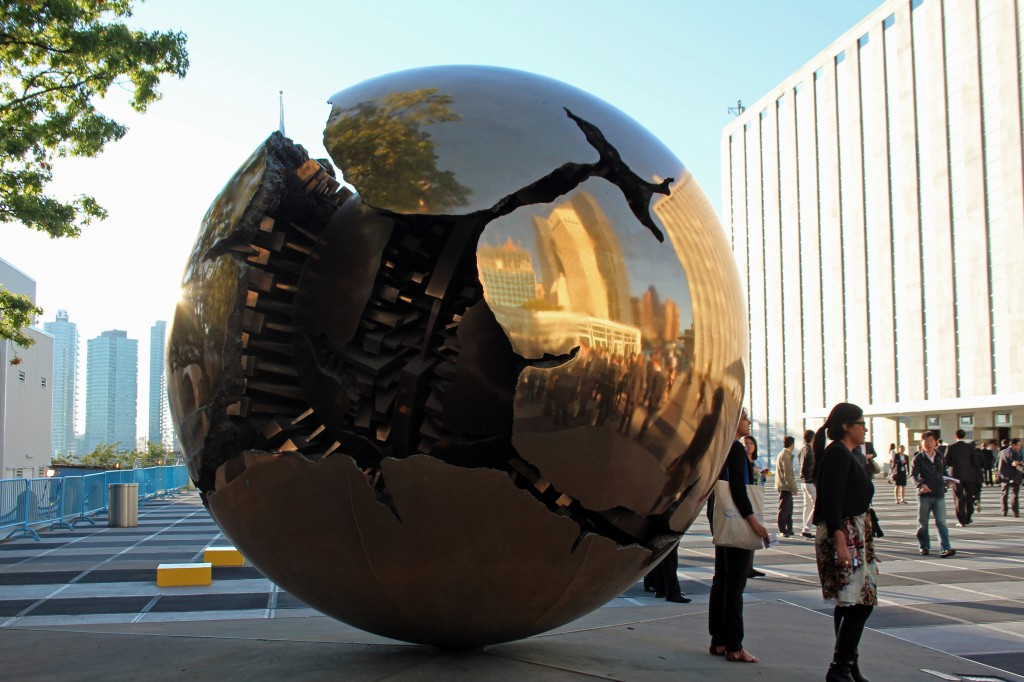 Italian sculptor Arnaldo Pomodoro's Sphere Within Sphere at U.N. headquarters in New York City. Variations of the bronze sculpture are in a dozen other sites, including Vatican City and the sculpture garden in Washington, D.C. Photo by Larisa Epatko/PBS NewsHour