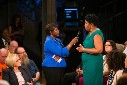 "The Rev. Traci Blackmon speaks to Gwen Ifill during the taping of ""America After Ferguson."" Photo by Nine Network/Jason Winkeler Photography"