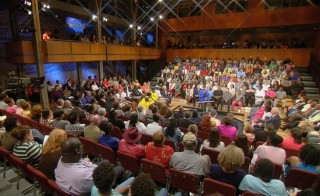 Gwen Ifill hosts a town hall meeting at the University of Missouri at St. Louis about the shooting of an unarmed black teenager in the town of Ferguson. Photo courtesy of WGBH