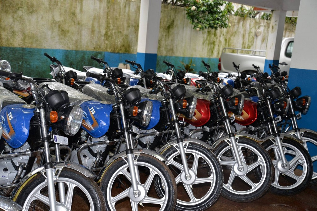 The World Health Organization handed over 24 motorcycles to the Ministry of Health in Guinea the first week in September to support Ebola contact tracing activities in eight districts in the country. Photo by A. Pallangyo/WHO