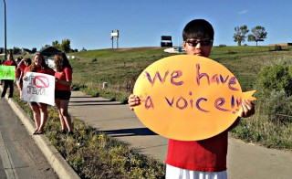 Students across Jefferson County in Colorado protest a school board proposal to emphasize patriotism and downplay civil unrest. Photo courtesy of Colorado Public Radio