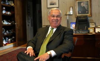 Thomas Menino, seen on the day after election to his 5th term at the Mayor's Office, died Thursday at the age of 71. Photo by David L. Ryan/The Boston Globe via Getty Images