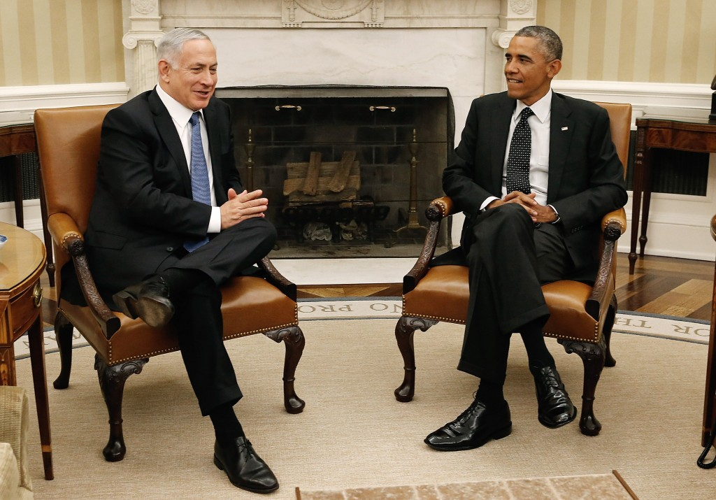 President Barack Obama (right) meets with Israeli Prime Minister Benjamin Netanyahu in the Oval Office of the White House on Oct. 1 in Washington, D.C. They were expected to discuss U.S. efforts against the Islamic State group in Syria and Iraq, Iranian nuclear capabilities, and the ongoing conflict between Israel and Palestinians in Gaza. Photo by Win McNamee/Getty Images