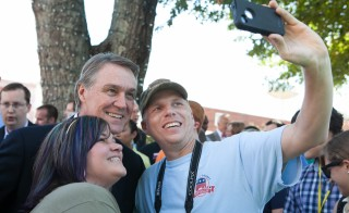 Georgia Senate candidate David Perdue takes a selfie with supporters in McDonough, Georgia, on Friday. Perdue, a Republican, is in a tight race with Democrat Michelle Nunn. Photo by Jessica McGowan/Getty Images
