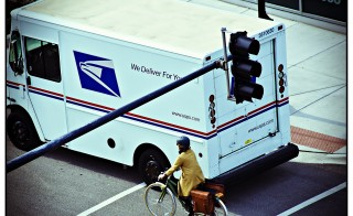 U.S. mail truck in the West Loop of Chicago, Ill. Photo courtesy of Flickr user Seth Anderson.