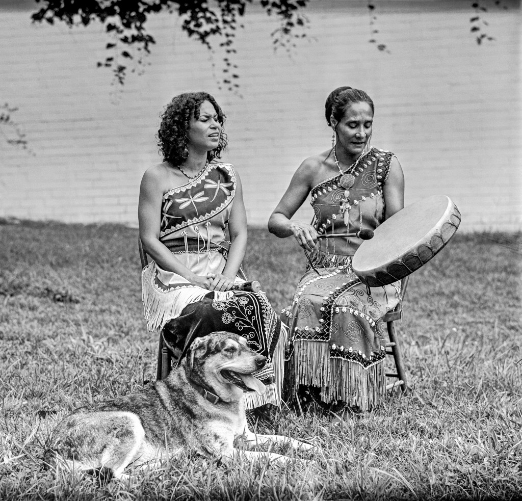 "Pura Fe Crescioni--Charly Lowry (left) & Ejo, Hillsborough, North Carolina, 2011. ""Our first meetings with Pura Fe forever changed out understanding of Southern music history. Previously we had seen that history as a black and white story. Pure Fe explained the intertwined lives and musical traditions of African and Native peoples in America."" Photo courtesy Tim and Denise Duffy"