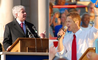 Left: Michigan Governor Rick Snyder delivers his inaugural remarks in front of the state Capitol in downtown Lansing, Michigan in 2011. Photo from Flickr user Joe Ross. Right: Democratic challenger Mark Schauer in 2008. Photo from Flickr user mic stolz.