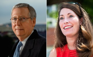 Republican Sen. Mitch McConnell and challenger, Kentucky Secretary of State Alison Lundergan Grimes. Photo of McConnell from his official Senate portrait; Photo of Lundergan Grimes from her campaign website