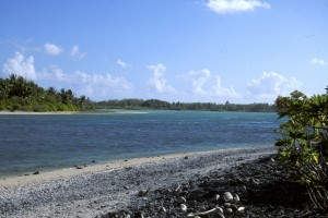 The entrance to the lagoon on Nikumaroro in Kiribati, where researchers believe the remains of Earhart's plane might lie.