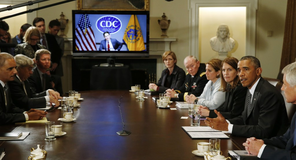CDC Director Tom Frieden listens via videoconference as U.S. President Barack Obama holds a meeting with cabinet agencies coordinating the government's Ebola response, in the Cabinet Room of the White House on Oct. 15. Photo by Kevin Lamarque/Reuters