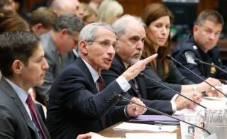 Centers for Disease Control and Prevention Director Tom Frieden (at table, from L), National Institute of Allergy and Infectious Disease Director Anthony Fauci  testify before a House Energy and Commerce Oversight and Investigations Subcommittee hearing on the U.S. response to the Ebola crisis, in Washington Oct. 16, 2014. Photo by Jonathan Ernst/Reuters