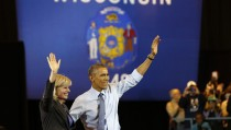 U.S. President Obama attends a campaign event with   Democratic candidate for Wisconsin Gov. Burke in Milwaukee