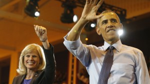 U.S. President Barack Obama attends a campaign event with Democratic candidate for Wisconsin Gov. Mary Burke while at North Division High School in Milwaukee