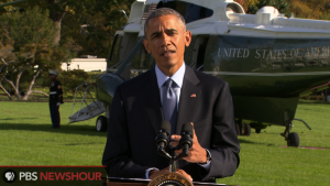President Obama delivers a statement from the South Lawn on Oct. 28, 2014.