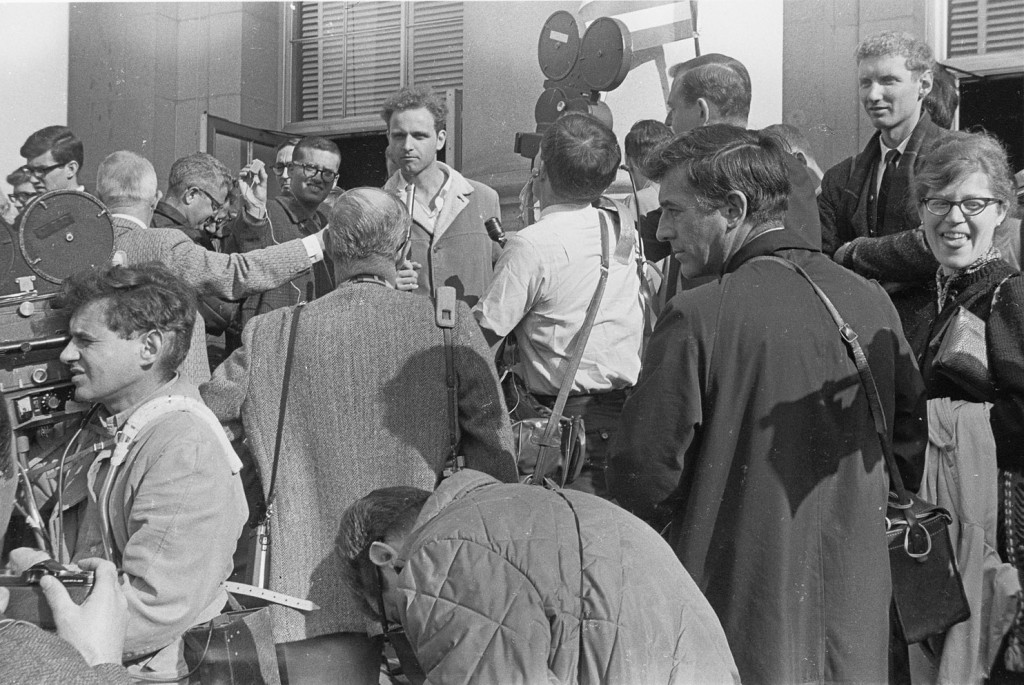 Student activist Mario Savio speaking with reporters in Dec. 1964. Photo by U.C. Berkeley, Bancroft Library
