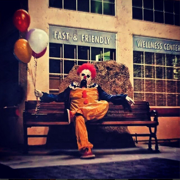 "An arrested teenager in the San Joaquin Valley claims to have copied the Wasco clown --  a husband and wife who have taken photos were taken by a husband and wife team and posted photos of clowns onto Instagram as part of a year-long art project. Photo by Instagram user ""Wasco Clown."""