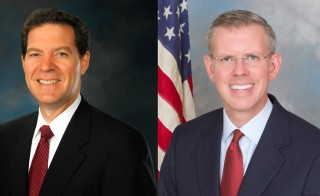 Left: Kansas incumbent Governor Sam Brownback. Photo from Wikimedia Commons. Right: Democratic challenger Paul Davis. Photo from Davis campaign.